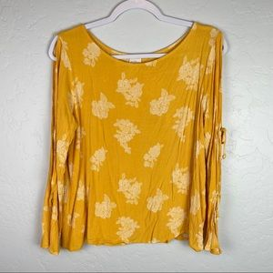 Kaileigh Rosella Cold Shoulder Top - Yellow, Large